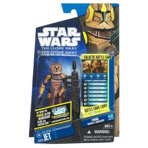 Star Wars 2011 Clone Wars Animated Action Figure CW No. 38 Clone Commander Jet by Hasbro Toys (English Manual)