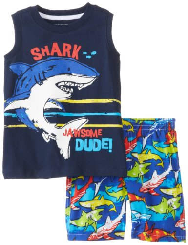 Kids Headquarters Baby-Boys Infant Tank With Shark Printed Shorts, Navy, 12 Months front-650197