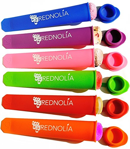 REDNOLIA Popsicle Molds and Ice Pop Maker with Attached Lids and Popsicle Recipes - Set of 6 (Reusable Baking Soda Container compare prices)