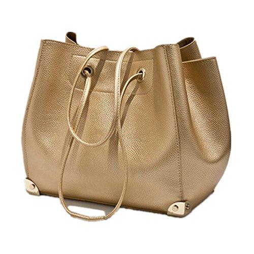 Santwo dicono le donne s, in pelle, con chiusura a cordoncino, Borsa a spalla con tracolla e maniglia superiore, Set da borsetta, oro (Argento) - BB0090