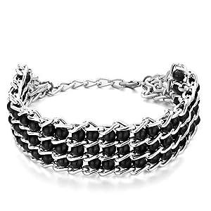 Pugster Chain 3-Row Little Black Plastic Cement Beads Bracelet