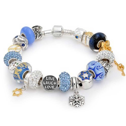 [Bring/jewelry] Bling Jewelry LIVE Laugh LOVE sterling silver SILVER 925 European style charm bracelets great blue base [import]