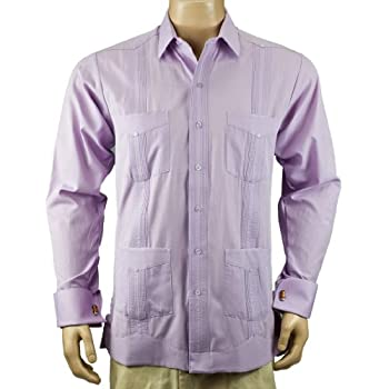 Deluxe French Cuffed fitted Lavender Guayabera, Size L