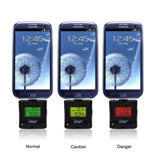 Ipega Alcohol Tester Alcoholometer Smartphone Breathalyzer Color Backlight For Samsung Galaxy S4 / Note 3 / Lg G2 / Google Nexus 5 / Motorola Moto G / Sony Xperia Z1 (Black)