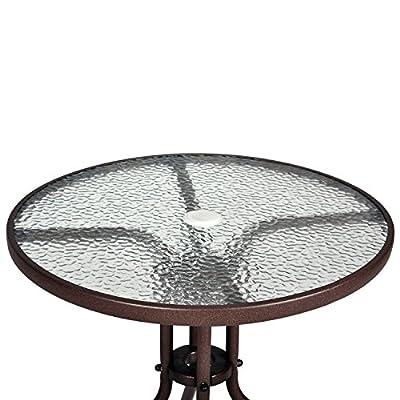 Bistrotisch mit Glasplatte und Schirmloch Gartentisch Balkontisch Terrassentisch von Nexos Trading - Gartenmöbel von Du und Dein Garten