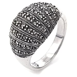 Sterling Silver Marcasite Dome Ring