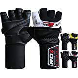 """RDX Men's Leather Gym Weight Lifting Gloves 3.5"""" Strap Cross Training Bodybuilding Fitness Workout"""