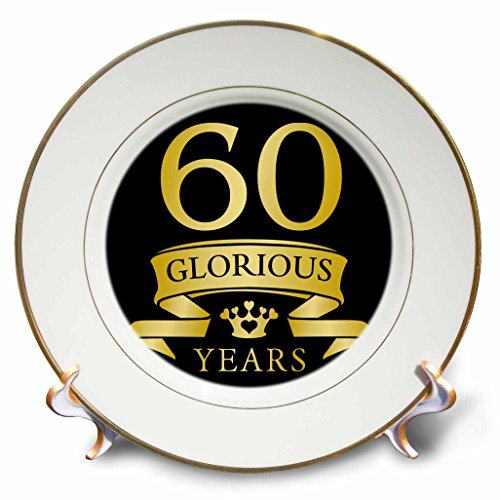 3dRose cp_223314_1 60th Celebration Anniversary Birthday Design in Tonal Yellow on Black Porcelain Plate, 8