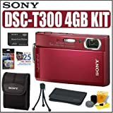 Sony Cybershot DSCT300 10.1MP Digital Camera (Red) + 4GB Accessory Kit