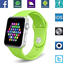 Banaus BS19 Newest SmartWatch with Bluetooth 4.0 Support SIM Watch Phone for Android Samsung Galaxy S4/S5/S6/S7/Note3/Note4/Note5/Note6 HTC Sony LG Xiaomi Huawei ZUK and iPhone 5/5C/5S/6/6S Green