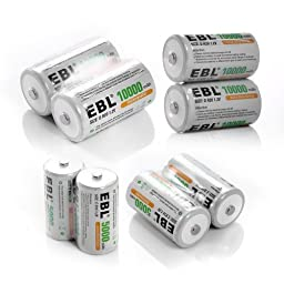 EBL High Capacity NiMH Rechargeable Battery Pack Include 4 Pack 5000mAh C Cell Battery and 4 Pack 10000mAh D Cell Bettery