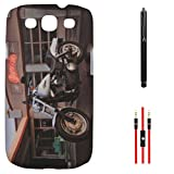 DMG Night Glow Hard Back Cover Case For Samsung Galaxy S3 Neo GT-I9300I (Bike) + AUX Cable + Stylus