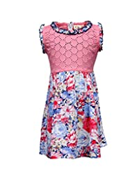 Budding Bees Girls Peach Floral Printed Fit & Flare Dress