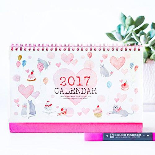Pink Cat Horizontal Version 2017 Desk Calendar Memo Lovely Folding Calendars (365 Day Quilt Block Calendar compare prices)
