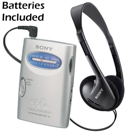 Sony Walkman Compact Portable Lightweight Am/Fm Stereo Radio With Convenient Belt Clip & Over The Head Stereo Headphones - Batteries Included - Designed For Jogging, Walking, Exercising & Bike Riding