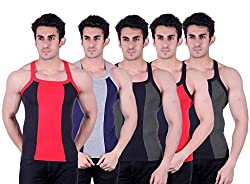 Zimfit Superb Gym Vests - Pack of 5 (BLK_BLU_GRN_RED_GRN_90)