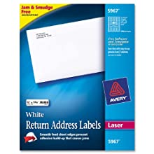 Avery Laser Labels, 0.5 x 1.75 Inches, White, 20,000 Labels Per Box (05967)