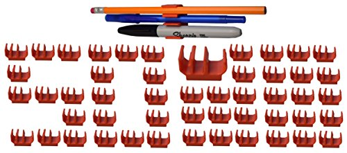 (50 pk) Orange pencil pen and marker holder adhesive clip - Best mount organizer to stick on the wall, desk, locker, binder, office, board - Great for kids, teacher, artist, classroom, supplies (Orange Grease Pen compare prices)