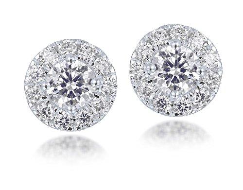 Diamond Studs Forever - Orecchini in oro bianco 14K e diamante GH/I1 3/4 Peso totale in carati 1 con vite CERTIFICATO IGI