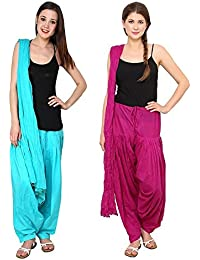 Green World Products : Patiala Salwars And Dupatta Set Combo (Free Size, Magenta(Dark Pink) & Sky Blue Colour...