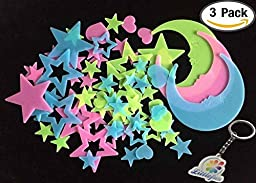 Littlefun Luminous Wall Sticker Glow in the Dark Fluorescent Home Decor for Kid Bedroom Ceiling Living Room Star Moon Decoration(3 Packs)