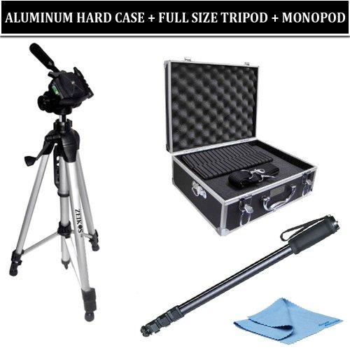 Pro Aluminum Hard Carrying Case + 67 Inch Monopod + Full Size Aluminum Tripod for Nikon, Sony, Canon, Olympus, Pentax, Panasonic Digital SLR Cameras