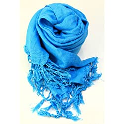 Anuze Fashions New Style Viscose Pashmina Shawl & Stole Wrap Scarf For Women's And Girl's (Azure)