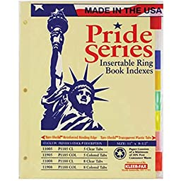 Wholesale CASE of 25 - Kleer-Fax Pride Series 8-Tab Insertable Indexes-Binder Index Tabs, 8 Tab, Letter, Assorted