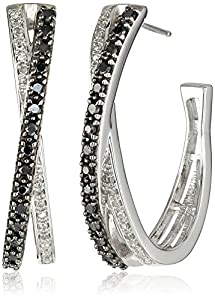 Sterling Silver Black and White Diamond (1/2cttw, I-J Color, I3 Clarity) Hoop Earrings