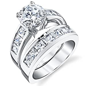 Amazon.com: Sterling Silver Bridal Set Engagement Wedding