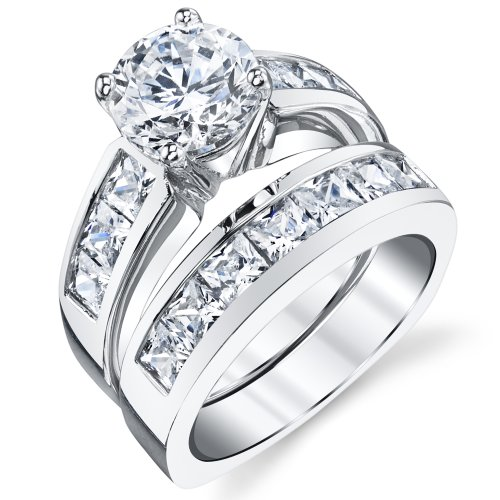 Sterling Silver Bridal Set Engagement Wedding Ring Bands with Round and Princess Cut Cubic Zirconia 7.5