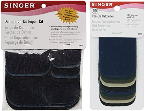 Best Price! Assorted Iron-On Patches Repair Kit, Denim and Dark Assortment See Description for Sizes...