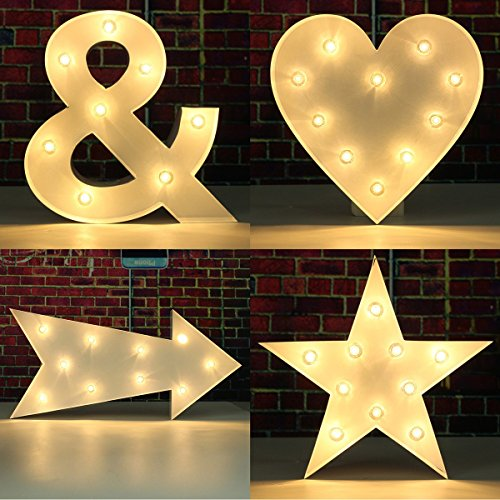 SOLMORE 23CM x 5.5CM LED Symbol Light DIY Vintage Metal Sign Carnival Wall Marquee Lights Decoration Arrow 6