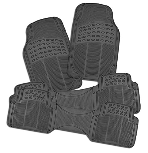 Zone Tech All Weather Rubber Semi Pattern Car Interior Floor Mats - 4-Piece Set Gray Heavy Duty Car Interior Floor Mats (Car Floor Mat Back Seat compare prices)