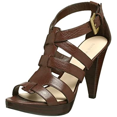 Nine West 'Balboa' Leather Gladiator Sandal (9.5 B(M) US, Brown)