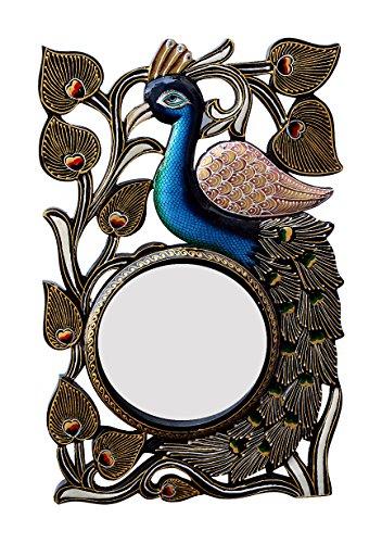 Divraya Wood Peacock Wall Mirror (30.48 Cm X 4 Cm X 45.72 Cm, DA134)