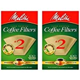 Melitta 622752 100 Count #2 Natural Brown Cone Coffee Filters - 2 Pack