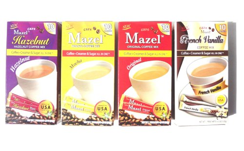 Instant Coffee Packets with Cream & Sugar - 4 Flavors - Hazelnut, Vanilla, Mocha & Regular Coffee Flavored,- Each Box Contains 10 Instant Coffee Singles (Instant Flavor Coffee compare prices)