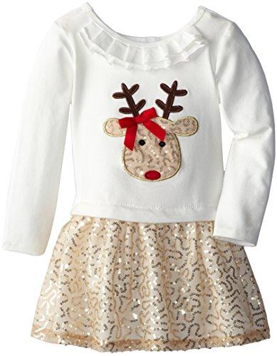 Bonnie Jean Little Girls' Reindeer Sequined Applique Skirt Set, Gold, 6 front-320901