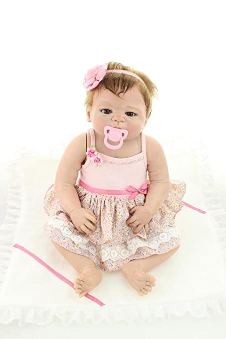 Nicery Reborn Baby Doll Hard Simulation Silicone Vinyl 22inch 55cm Magnetic Mouth Lifelike Cute Waterproof Children Toy Pink Dress Flower with Acrylic Eyes A3US