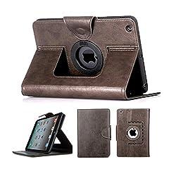 Bracevor Premium Leather case for iPad mini 3, iPad mini 2, iPad mini 1 (7.9 inch) : Auto Sleep/Wake, Rotating Stand, Flip Cover - Executive Brown