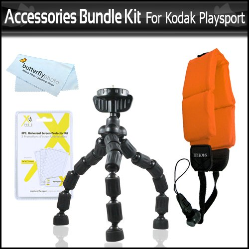 Accessories Bundle Kit For Kodak Playsport (Zx5) Hd Waterproof Pocket Video Camera Includes Gripster Flexible Tripod + Floating Strap + Lcd Screen Protectors + Microfiber Cleaning Cloth