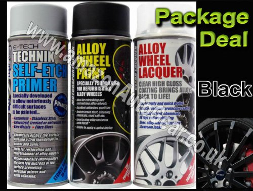 E-Tech Professional BLACK Car Alloy Wheel Spray Paint & High Gloss Clear Lacquer & Self Etch Primer Spray Can Refurbishment Pack