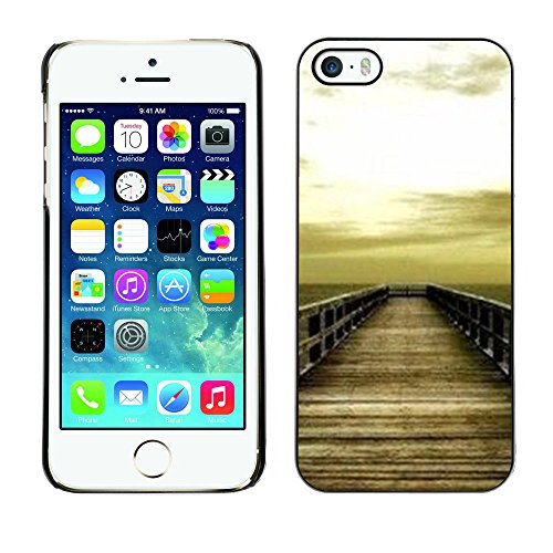For Apple iPhone 5 / iPhone 5S Case , Golden Brown Dock Sea Sun Summer - Colorful Pattern Hard Back Snap-On Cover Case Skin Mobile Phone Shell Bumper