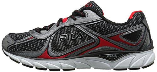 Fila Men's Quadrix Running Shoe, Black/Dark Silver/Fila Red, 11 M US