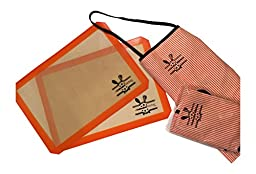 2 Kid\'s Colorful Orange and White Striped Aprons, plus 2 Professional Silicone Baking Mats-easy Clean Up, and Heat Resistant Liners for Cookie Sheets Bundle.