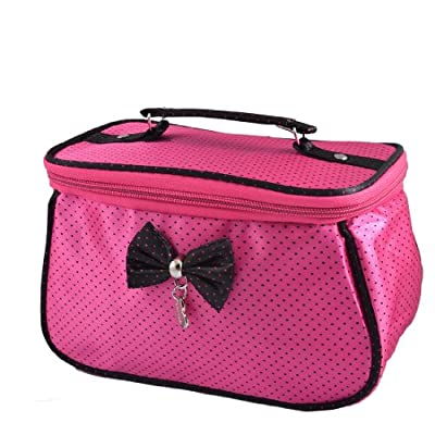Best Cheap Deal for uxcell Women Dots Printed Bowknot Decor Zipper Cosmetic Bag Storage Purse Fuchsia by uxcell - Free 2 Day Shipping Available