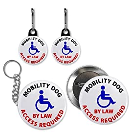 MOBILITY DOG ACCESS REQUIRED Medical Alert Button Key Chain Zipper Charms