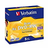 Verbatim 43565 8CM DVD+RW 4x 1.4GB Mini Slim Jewel case 5pk