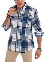 TIME OF BOCHA Camisa Hombre Lino (Azul Oscuro / Blanco)